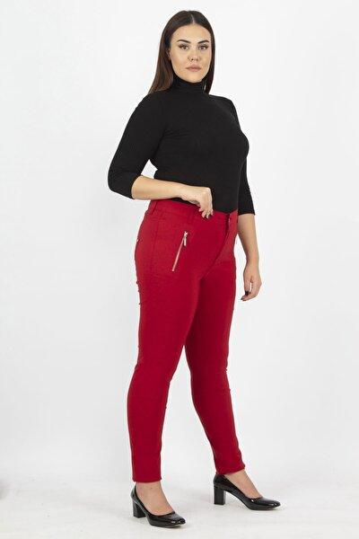 Kadın Bordo Fermuar Detaylı Pantolon 65N20932