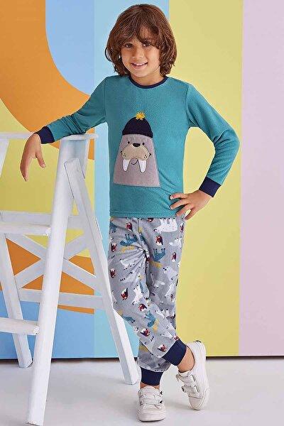 Erkek Çocuk Turkuaz Polar Uzun Kollu Pijama Takımı 1-8 Yaş 1336
