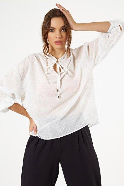 Kadın Bağlamalı Fırfır Yaka Sim Dokumalı Transparan Bluz 30846