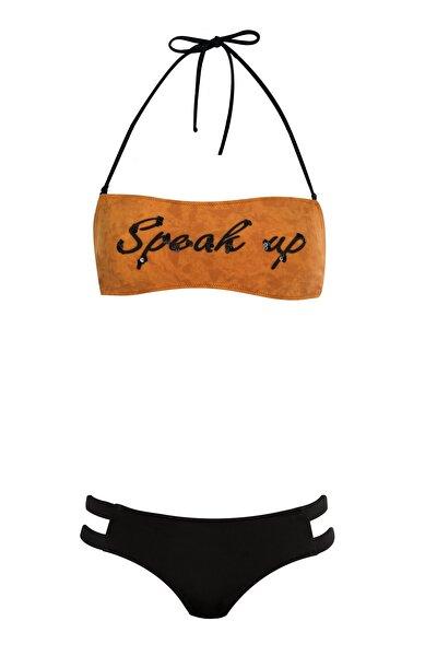 Kadın Hardal Straplez Bikini Takımı