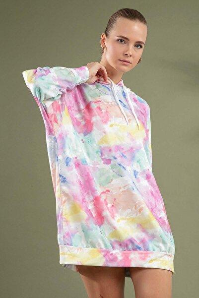Kadın Desenlli Kapşonlu Örme Sweatshirt Elbise Y20w110-4125-27