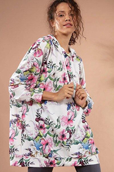 Kadın Çiçekli Kapşonlu Örme Sweatshirt Y20w110-4125-29