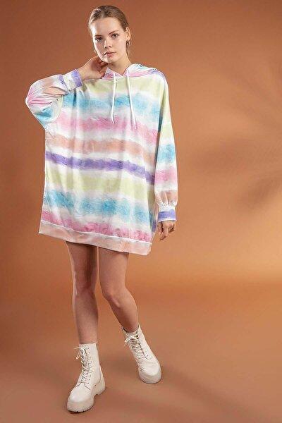 Kadın Baskılı Kapşonlu Oversize Elbise Sweatshirt Y20w110-4125-8