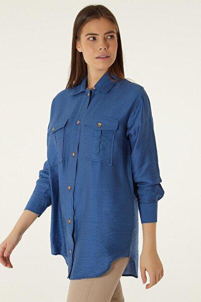 Kadın Mavi Çift Cepli Uzun Boyfriend Gömlek P20w201-3356