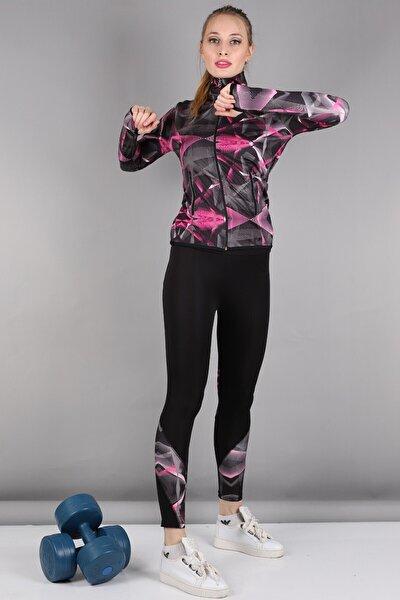 Kadın Pembe Dalgıç Kumaş Spor Sweat Tayt Takım