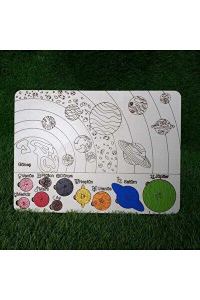 Ahşap Güneş Sistemi Gezegenler Eğitici Puzzle