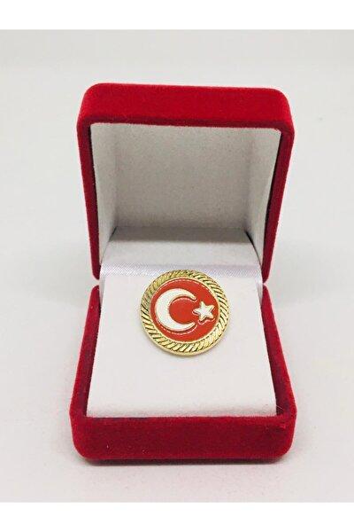 Yuvarlak Türk Bayrağı Yaka Rozeti