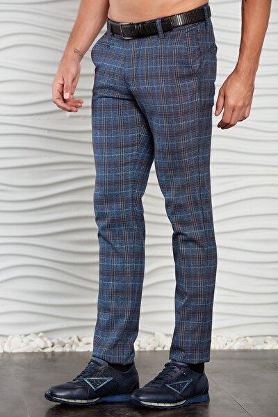 Erkek Saks Mavisi Ekoseli Klasik Dokuma Pantolon