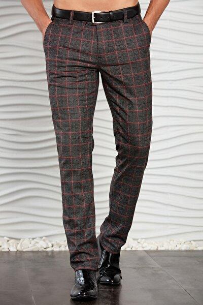 Erkek Siyah Ekoseli Klasik Dokuma Pantolon
