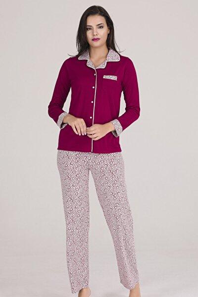 Chiser Kadın Vişne Önden Açık Göğüs Cepli Örme Pijama Takımı