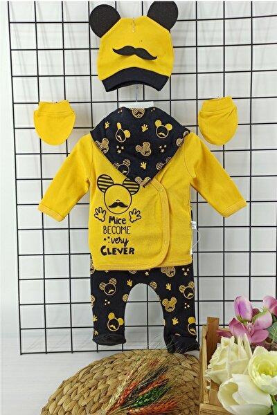 Sarı Mickey Desenli 5 Li Hastane Çıkışı Body Zıbın Set 0-3 Ay