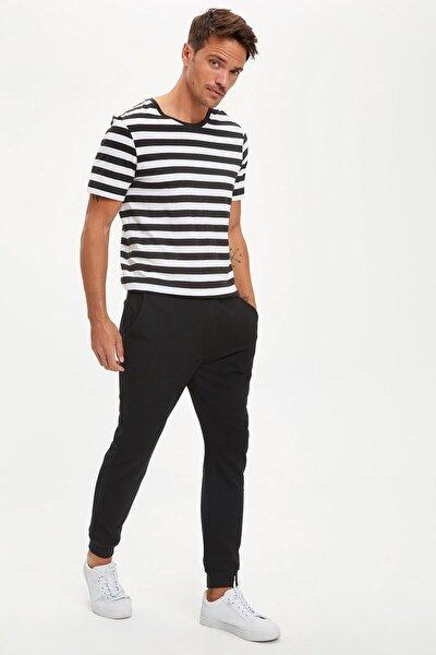 Erkek Siyah Slim Fit Bağcıklı Jogger Eşofman Altı R9262AZ20AUBK