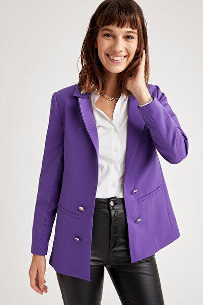 Düğme Detaylı Relax Fit Blazer Ceket
