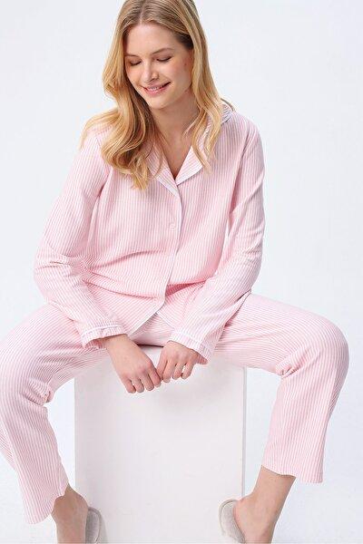 Kadın Pembe Gömlek Yaka Çizgili Pijama Takım ALC-X5428