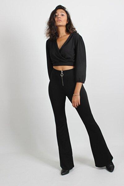 Yüksel Bel Fermuar Detaylı Ispanyol Paça Pantolon Siyah