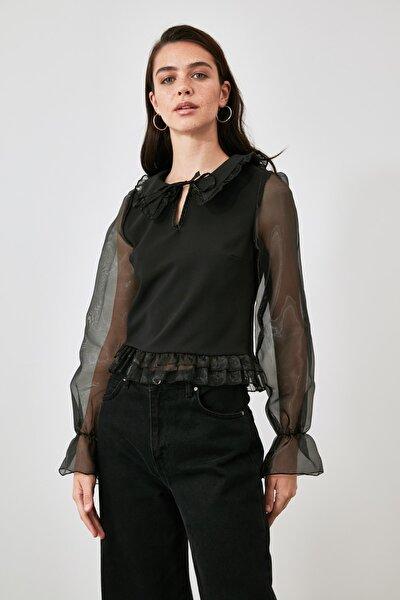 Siyah Tül Detaylı Bluz TWOAW21BZ1577
