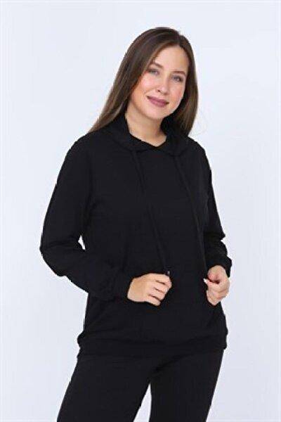 Kadın Siyah Kapüşonlu Büyük Beden Sweatshirt