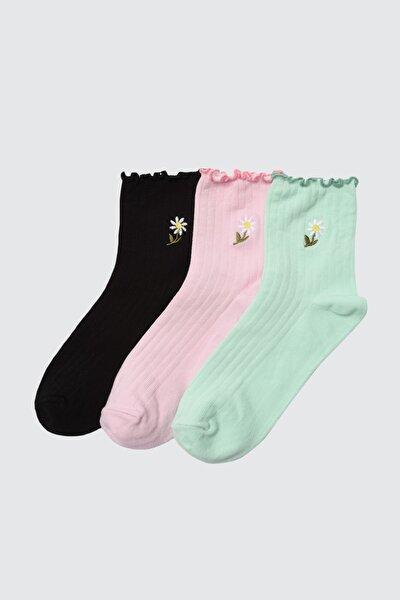 3'lü Çok Renkli Örme Çorap TWOAW21CO0097