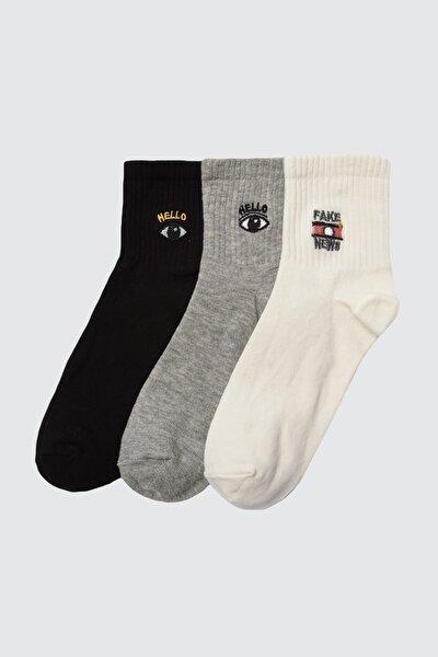 3'lü Çok Renkli Örme Çorap TWOAW21CO0101