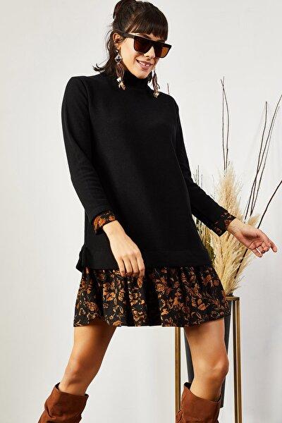 Kadın Siyah Tarçın Garnili Selanik Elbise ELB-19000965