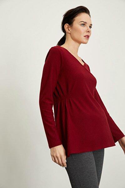 Beli Büzgü Detaylı Uzun Kollu Hamile Örme Bluz