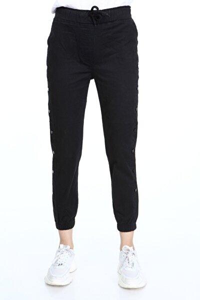 Kadın Çıtçıtlı Kargo Pantolon Siyah