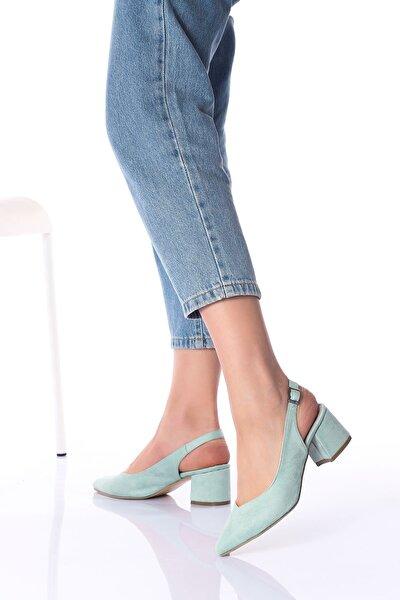 Kadın Su Yeşili Arkası Açık Topuklu Ayakkabı