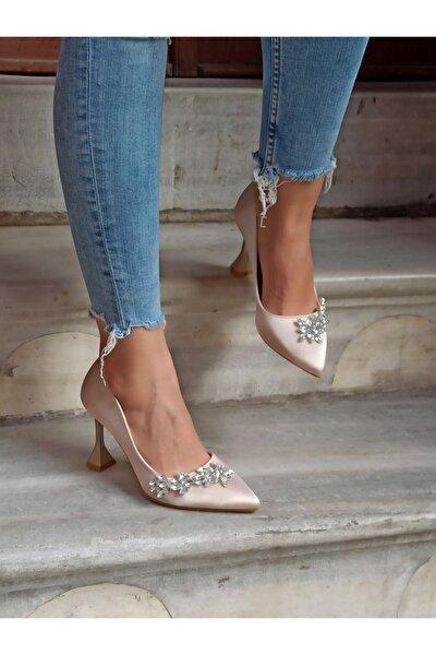 Kadın Ten Saten Yaprak Taş  Şampanya Topuk  Ayakkabı 9 cm
