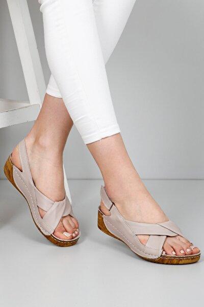 Kadın Bej Hakiki Deri Sandalet 42304