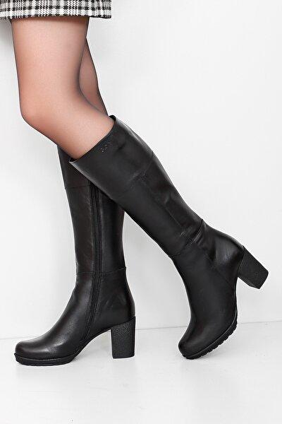 Gön Hakiki Deri Siyah Topuklu Fermuarlı Günlük Kadın Çizme 44602