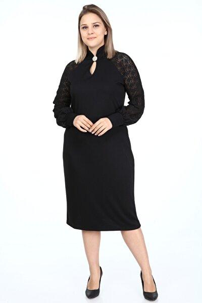 Büyük Beden Siyah Kadın Elbise Broşlu