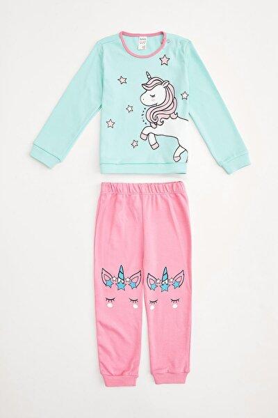 Kız Çocuk Mint Unicorn Baskılı Pijama Takım
