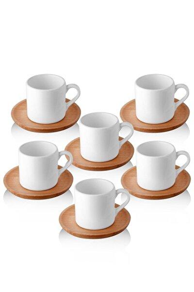 Doğal Ahşap Tabaklı 6 Kişilik Kahve Takımı
