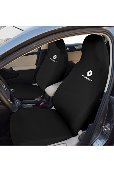 Renault Siyah Servis Kılıfı Ön 2 + Arka 2 Parça Riklalı Esnek Kumaş