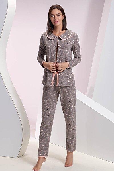 Kadın Gri Kedi Baskılı Düğmeli Pijama Takımı