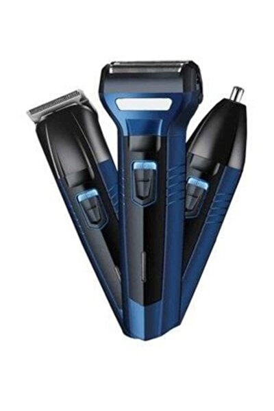 3'lü Set Saç Sakal Kesme Traş Makinesi Burun Kılı Alma 3in1 Pro Model Erkek Bakım Seti