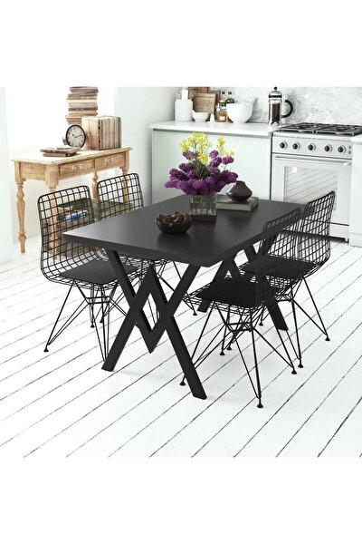 Siyah Parla 4 Sandalyeli Mutfak Masası