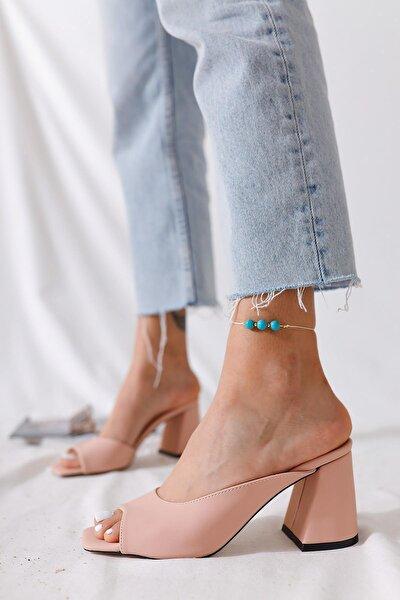 Kadın Pudra Pastel Renk Topuklu Terlik