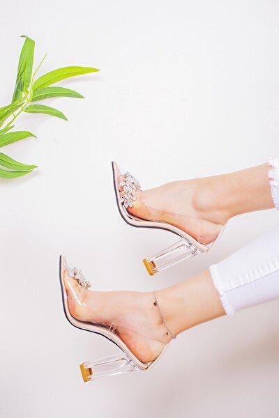 Kadın Şeffaf Taşlı Kenarlı Şeffaf Topuklu Stiletto