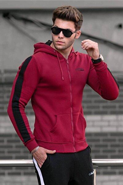 Erkek Bordo Basic Fermuarlı Kapşonlu Sweatshirt 4191