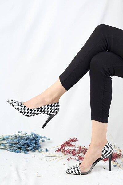 Kadın Siyah Beyaz Desenli Yanı Açık Şeffaf Stiletto Topuklu Ayakkabı - Lotus