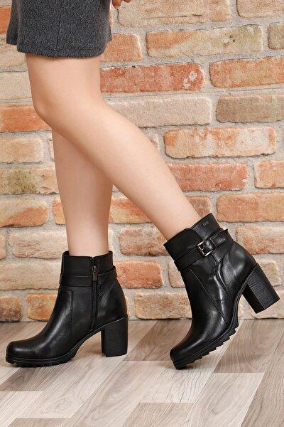 Gön Hakiki Deri Siyah Tokalı Fermuarlı Topuklu Günlük Kadın Bot 50468