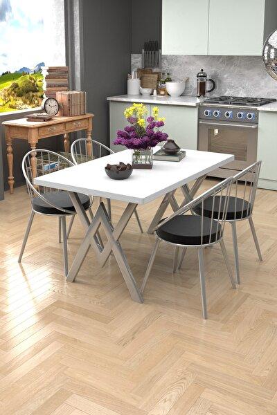 Beyaz Siyah Eylül Silver 4 Kişilik Mutfak Masası Takımı