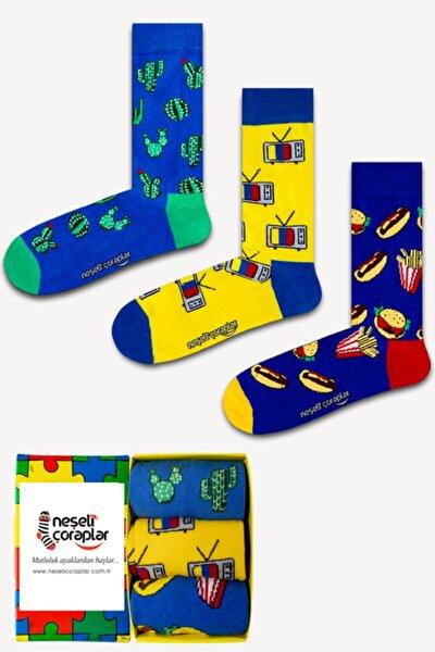 3'lü Kaktüs Renkli Çorap Set