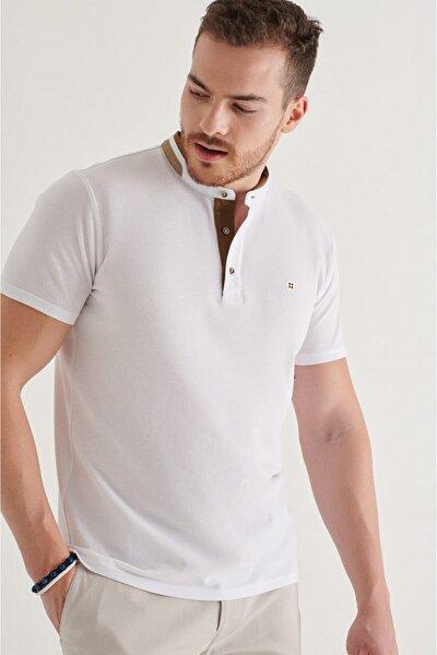 Erkek Beyaz Hakim Yaka Düz T-shirt A11y1024