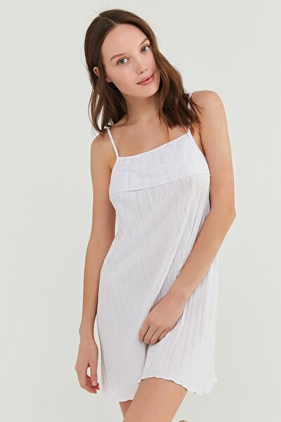 Optik Beyaz Bridal Pleat Elbise