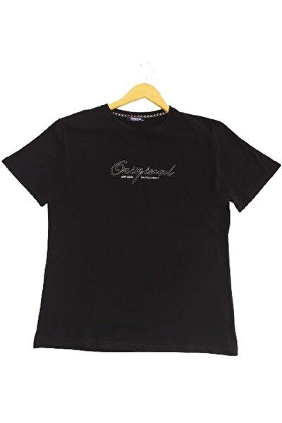 Erkek Siyah Original Işlemeli Büyük Beden Tişört