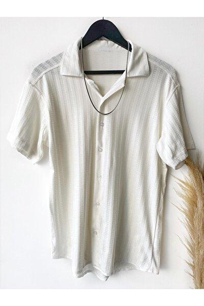 Erkek Beyaz Yazlık Kısa Kollu Gömlek