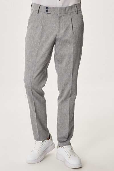 Erkek Gri Lacivert Slim Fit Dar Kesim Yan Cep Casual Pantolon