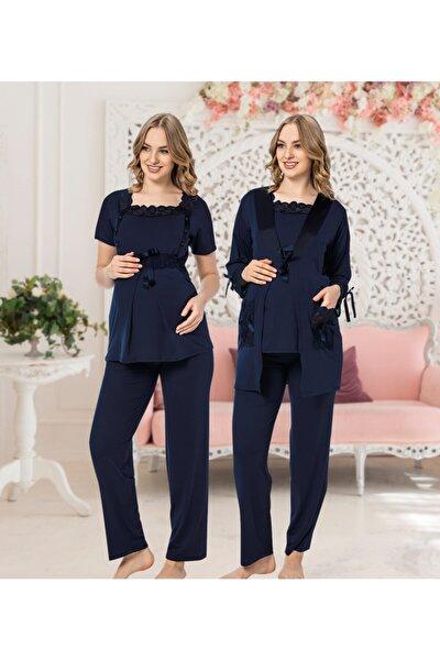 Kadın Sabahlıklı Kısa Kollu Ince Hamile Üçlü Pijama Takımı